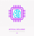 machine learning thin line icon head in chip vector image vector image