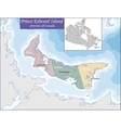 Map of Prince Edward Island vector image vector image