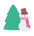 merry christmas celebration snowman with scarf hat vector image vector image