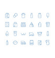 milk icons bottle jars plastic containers vector image