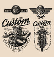 motorcycle vintage monochrome labels vector image vector image