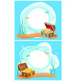 photo frame with mysterious sea treasures in chest vector image vector image