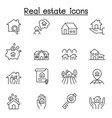 real estate icons set in thin line style vector image