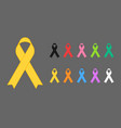 realistic colorful awareness ribbons vector image