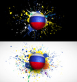Russia flag with soccer ball dash on colorful vector image vector image