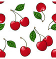seamless pattern red cherry with black contour on vector image vector image