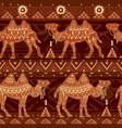seamless pattern with camels and ethnic motifs vector image vector image