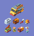 snack trucks colorful isometric vector image