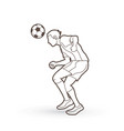 soccer player bouncing a ball action outline graph vector image