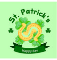 st patrick s day horseshoes clover leaves backgrou vector image
