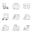 street food truck icons set outline style vector image vector image