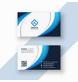 stylish blue wave business card design template vector image vector image