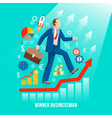 Successful Businessman Symbolic Flat Poster vector image