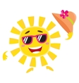 Summer sun character in sunglasses holding straw vector image vector image
