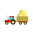tractor with hay on trailer icon vector image vector image
