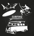 vintage surfing elements on chalkboard design vector image