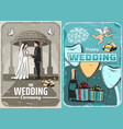 wedding invitation or save the date vintage banner vector image