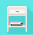 white nightstand icon flat style vector image vector image