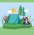 young people picnic in park vector image