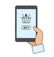 mobile phone with online buy app vector image
