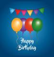 happy birthday greeting card balloons garland vector image