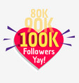 100k social followers success message poster vector image vector image