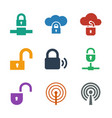 9 encryption icons vector image vector image