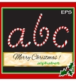 ABCDEF christmas sugar-candy font on a background vector image vector image