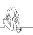 abstract portrait of a woman with cup of tea vector image vector image