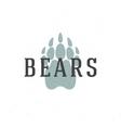 Bear trail hand drawn logo emblem template vector image