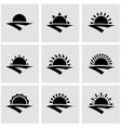 black sunrise icon set vector image