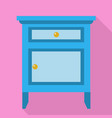 blue nightstand icon flat style vector image vector image