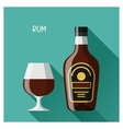 Bottle and glass of rum in flat design style