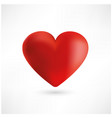 bright red heart on white background vector image