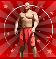 cartoon male athlete in red shorts on red vector image vector image