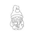 cartoon santa gnome character nursery contour vector image