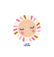 cartoon sun character with hand drawn lettering vector image