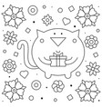 cat with a present coloring page vector image vector image