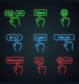 click buttons neon light icons vector image