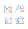covid19 vaccine quality gradient linear icons set vector image