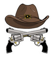 cowboy hat with a pair of crossed guns vector image vector image