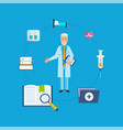 doctor in medical gown with tool research results vector image vector image