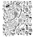 doodle hand drawn sketch set happy birthday vector image