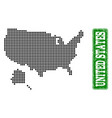 dotted map of usa and alaska and grunge rectangle vector image vector image