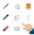 flat icon tool set of marker nib pen date block vector image vector image