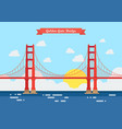 flat style golden gate bridge vector image vector image