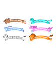funny cute cartoon simple animal banners vector image vector image