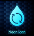glowing neon recycle clean aqua icon isolated on vector image vector image