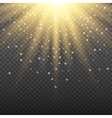 Gold glowing light burst explosion on transparent vector image