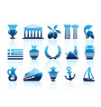 greece icons vector image vector image
